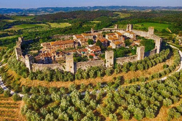Monteriggioni, Siena aerea view